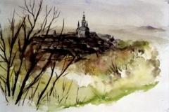 Dorf-aquarell