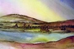 Landschaft-mit-See-aquarell