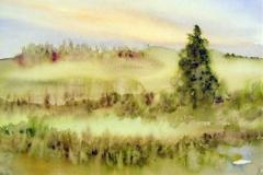 Landschaft-mit-Tanne-aquarell