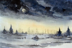 Mond-im-Winter-aquarell