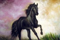 Pferd-schwarz-aquarell