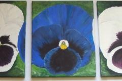 Triptichon-Blumen-acryl