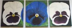 Triptichon Blumen acryl
